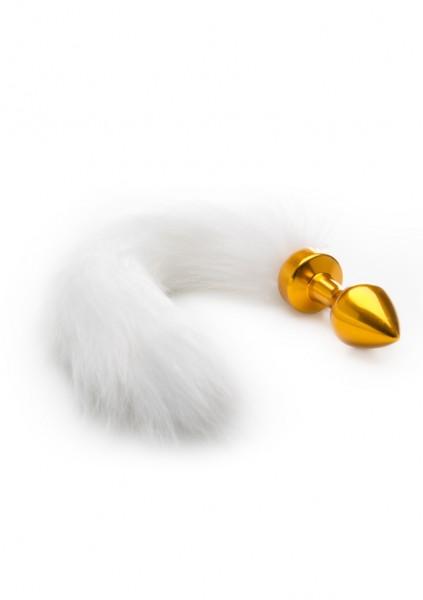 Analplug mit weißem Schwanz gold