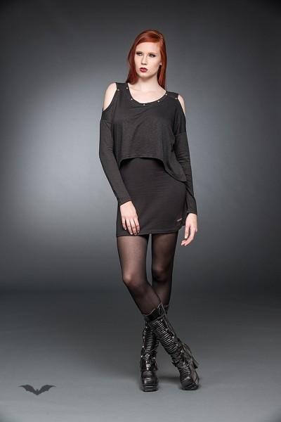 Langarm Kleid mit freien Schulterpartien