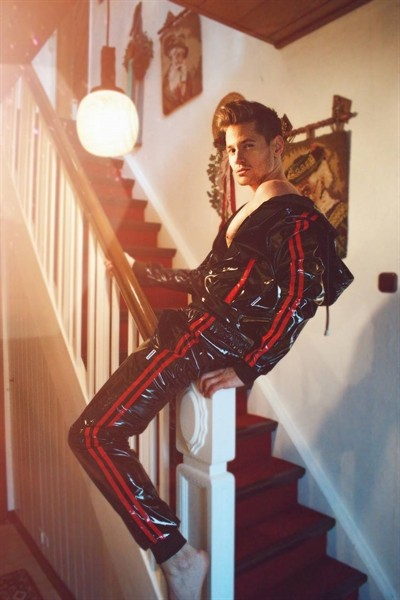 PVC Tracksuit Jacke mit roten Streifen