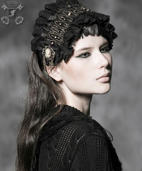 Haarband im Steampunk-Stil mit Rüschen schwarz