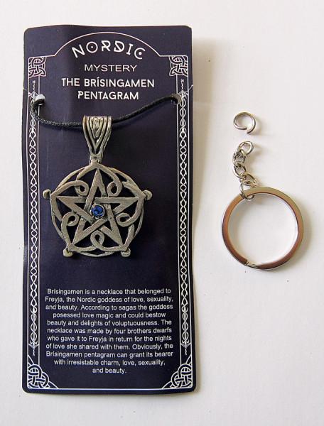 Zinn-Anhänger Brisingamen Pentagramm mit blauem Stein