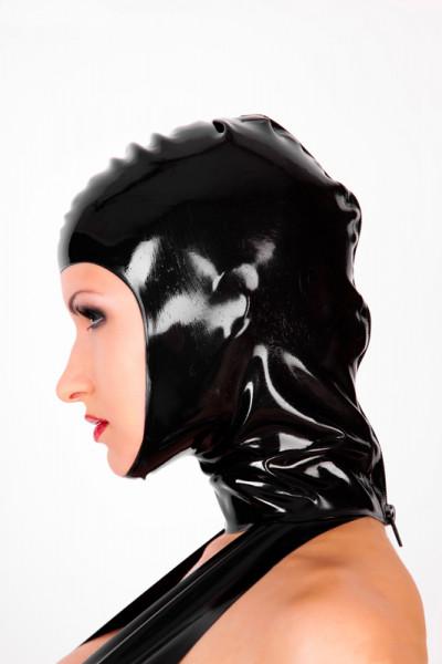 Latex Kopfhaube gesichtsfrei, mit RV, getaucht
