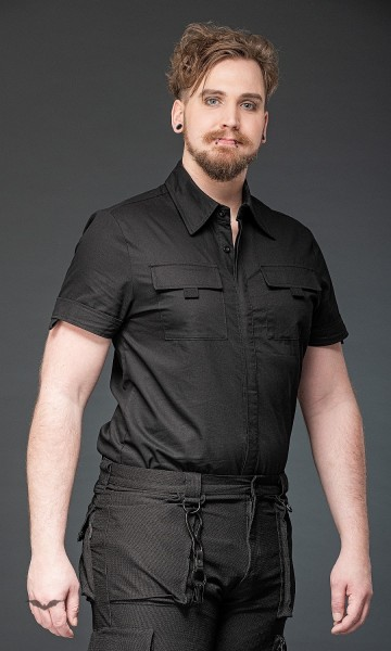 Kurzarmhemd mit verdeckter Knopfleiste und 2 Taschen