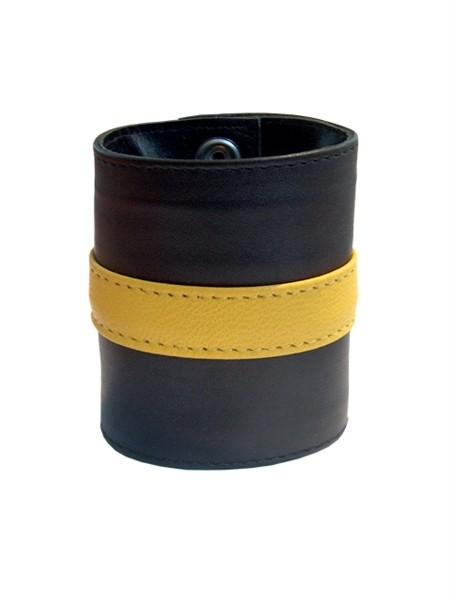 Leder Handgelenk-Geldbörse mit RV schwarz/gelb