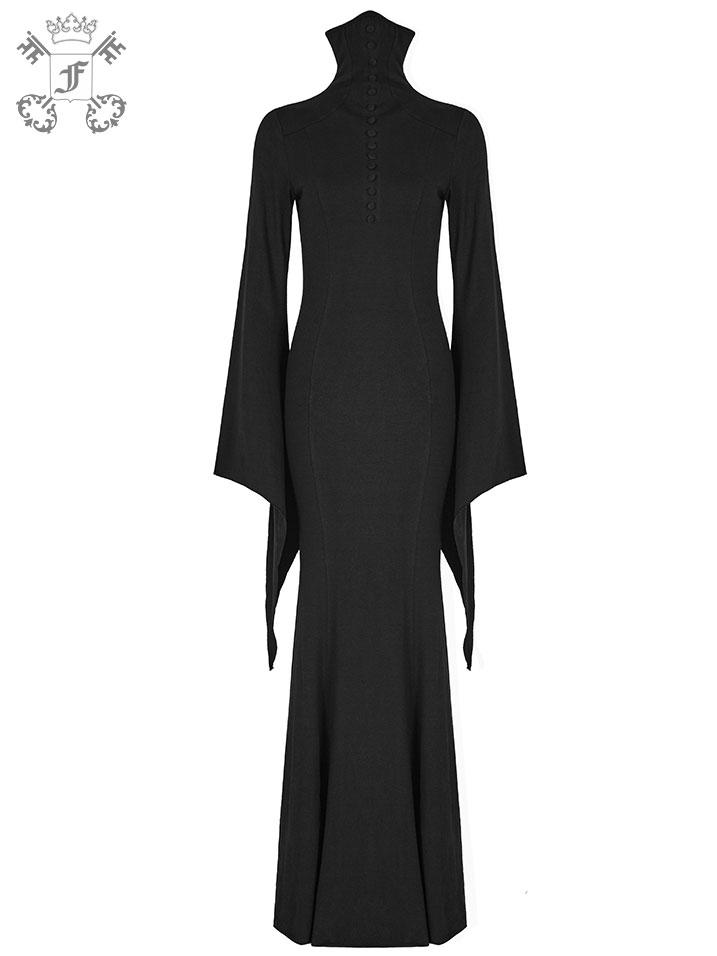 Langes enges Kleid mit ausgestellten Ärmeln | Kleider ...