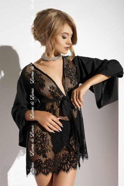 Netz-Kimono mit Spitze