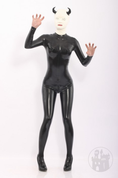 Latex Catsuit mit Teufel Maske
