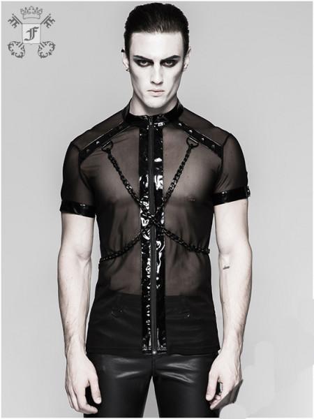 Transparentes Shirt mit Kunstlederriemen