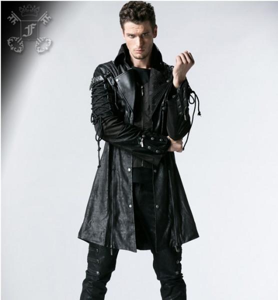 Mantel mit Kunstlederapplikationen und Schnürungen