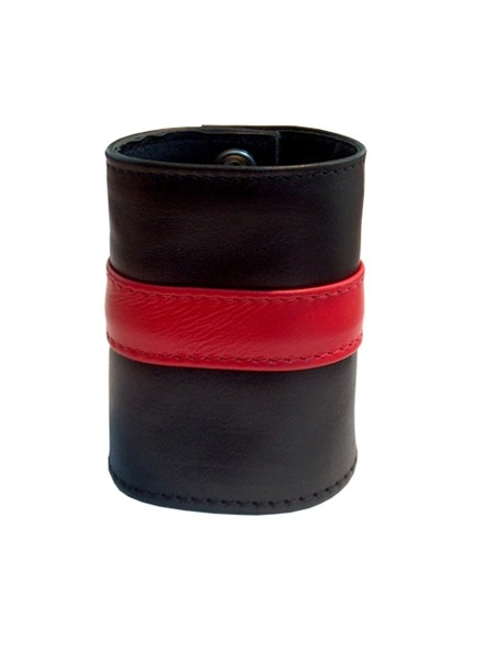 Leder Handgelenk-Geldbörse mit RV schwarz/rot