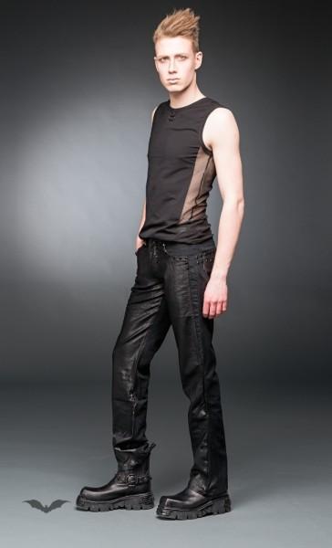 Schwarze Hose mit Lederoptik-Applikationen