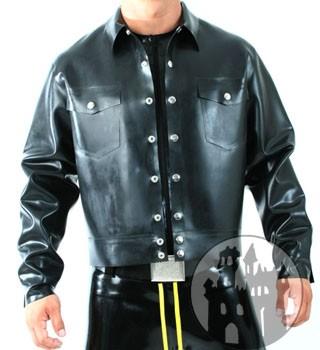 Latex Jeansjacke - Brusttaschen, Druckknöpfe vorne