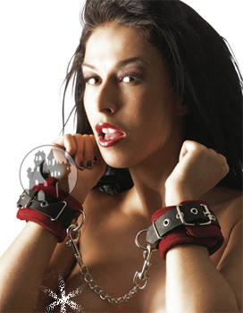 Lederhandfesseln - rot/schwarz