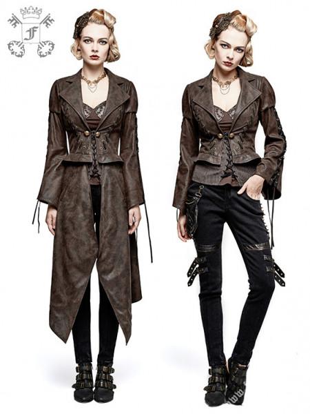 Steampunk-Jacke mit abnehmbarem Mantelteil