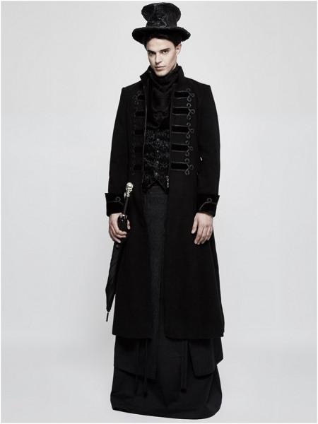 Langer Mantel mit Stickereien und Samtstoff
