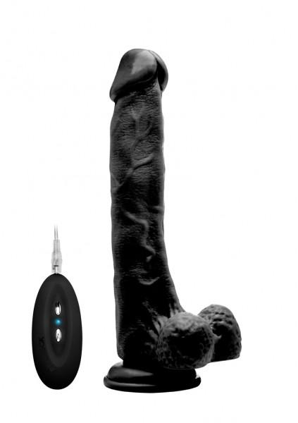 Realistischer Vibrator mit Hodensack schwarz 10 Inch