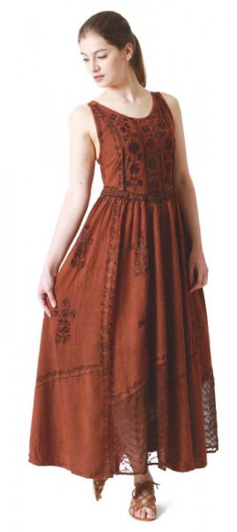Langes Träger-Kleid mit Stickereien