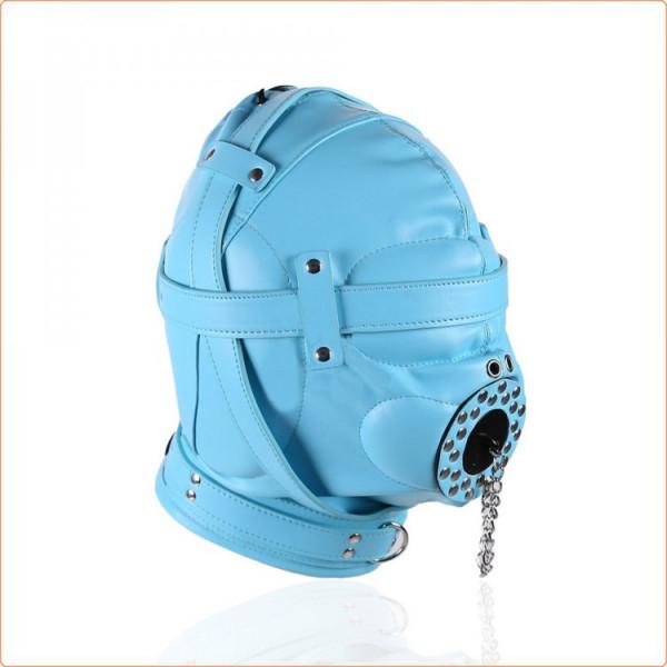 Kunstleder Kopfmaske mit Knebel und Schloss