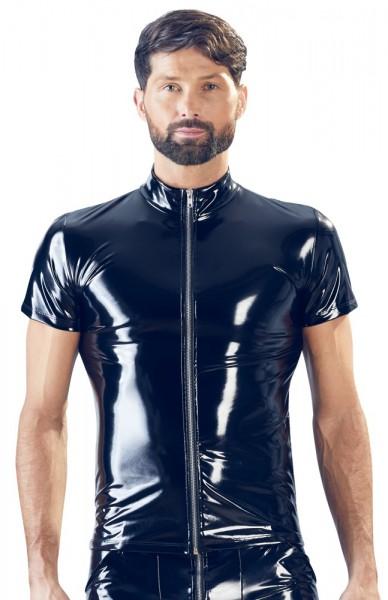 Schwarzes Lack-Shirt mit Reißverschluss vorne