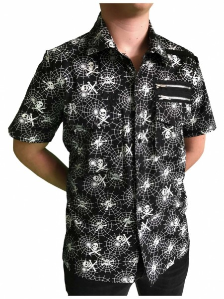 Punk Hemd mit Spinnennetz Muster