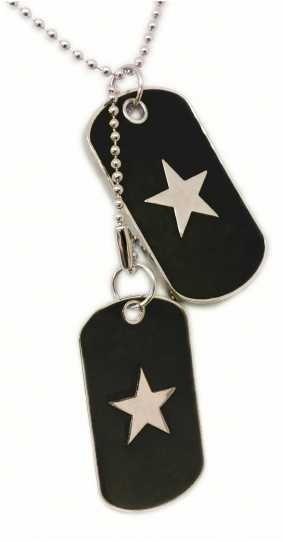 Kugelkette mit Dogtag - Stern schwarz vorne