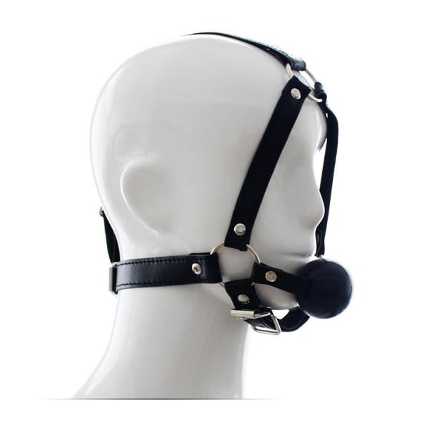 Kunstleder Kopfharness mit Silikonball