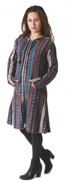 Lange Jacke mit Kapuze im Ethno-Look