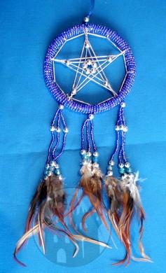 Dreamcatcher Pentagramm blau
