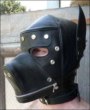 Leder Hunde Kopfmaske