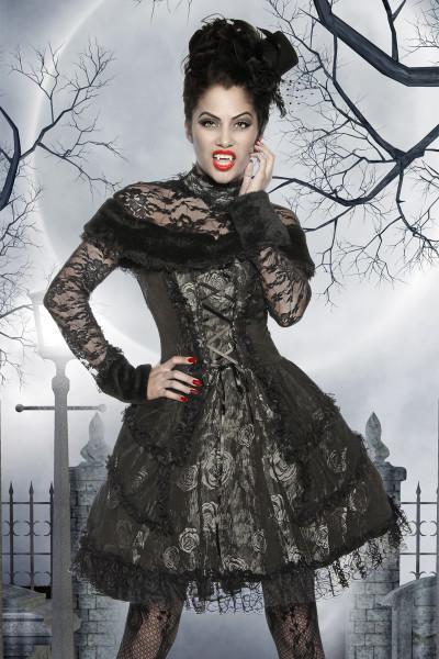 Premium Vampirkostüm mit Spitze und Schnürung