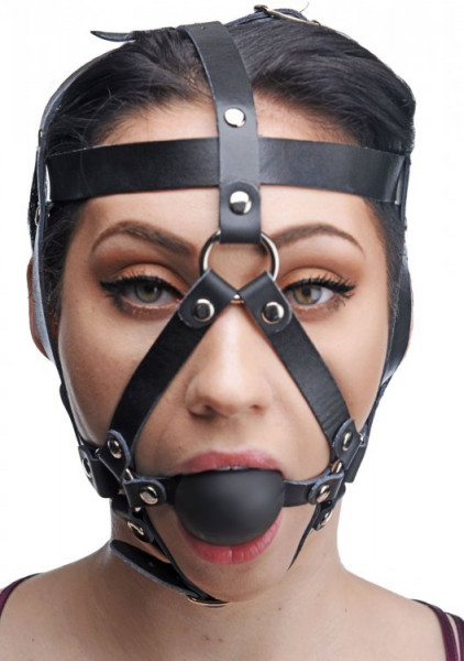 Leder Kopf Harness mit Ballknebel