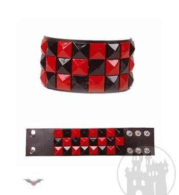 3-reihiges sw-rotes Schachbrett Armband