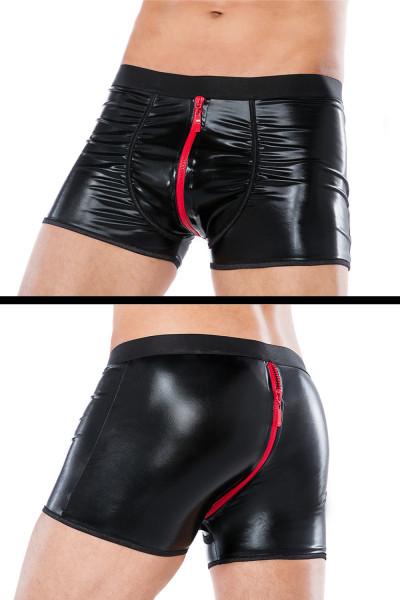 Wetlook Shorts mit 2-Wege-Reißverschluss