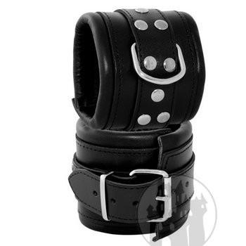 Handfessel breit schwarz mit massiven D-Ringen
