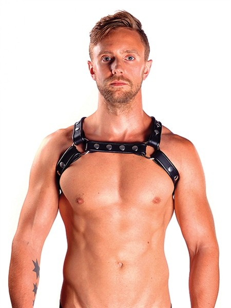 Leder Harness 'X' schwarz