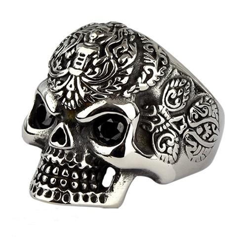 Ring 'Totenkopf' Edelstahl mit Stein