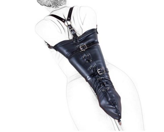 Bondage Kunstleder Armfesseln schwarz