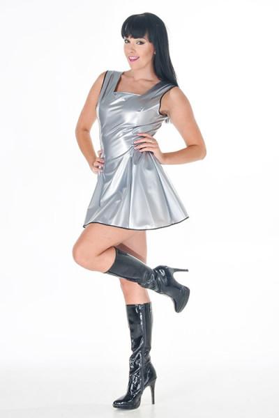 PVC Kleid Skater Girl silber