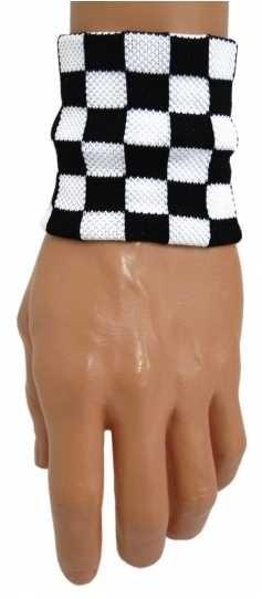Schweißband mit Schachmuster - schwarz/weiß