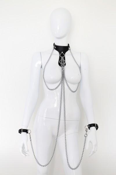 Halsband mit Handfesseln Ketten-Set