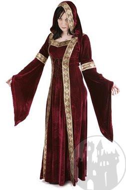 mittelalterliches Samtkleid mit Kapuze, noch mehr mittelalterliche Gewandung im Mittelalter Shop