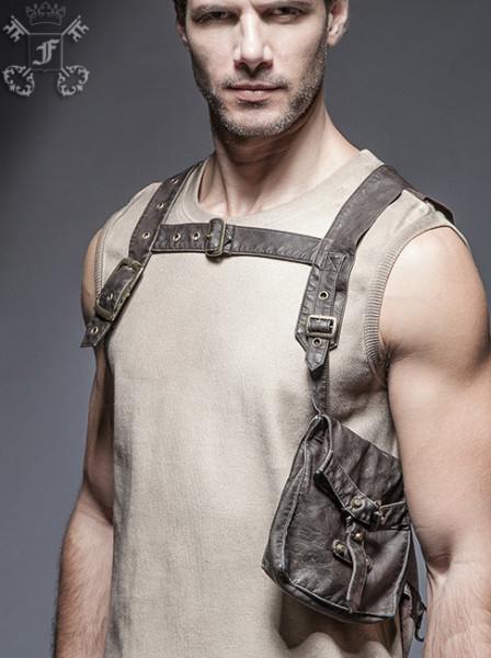 Kunstleder-Harness mit Tasche