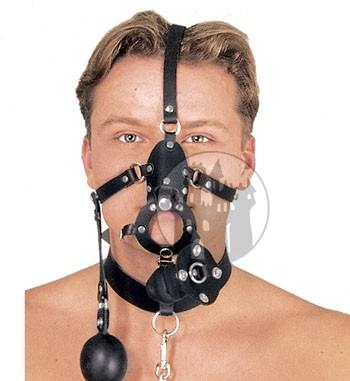 Leder Herren Kopfharness mit Knebel