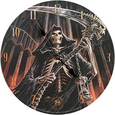 Wanduhr mit Aufdruck, entworfen von anne Stroke, zeigt den gevatter Tod mit seiner sense