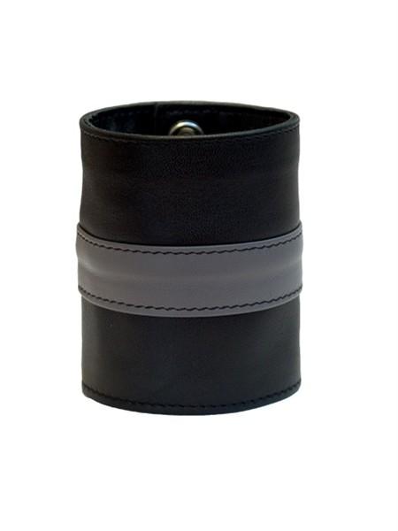 Leder Handgelenk-Geldbörse mit RV schwarz/grau