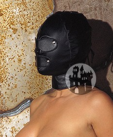 Leder Maske mit abnehmb. Augen- und Mundklappe