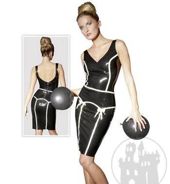 Latex Kleid mit Paspelstreifen
