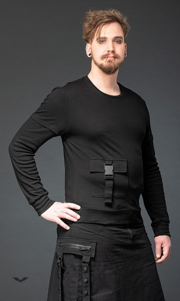 Pullover mit Tasche vorn und Metallschnalle