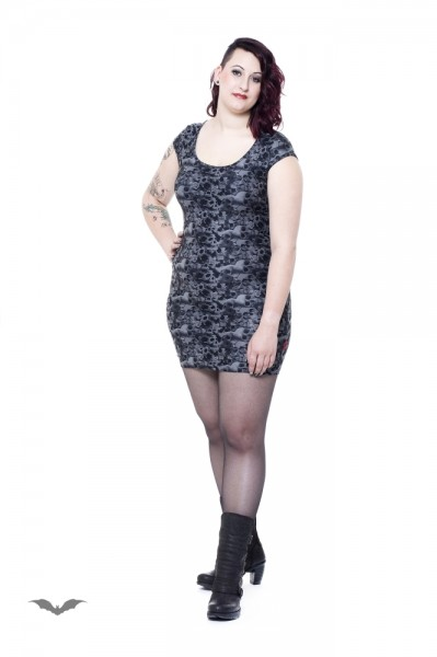 Graues Kleid mit Totenkopf und Rosen Muster