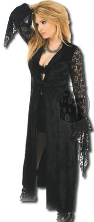 Mantel aus Samt mit Spitzenärmeln